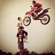 Don't try this at home! enduro motorcycle stunt