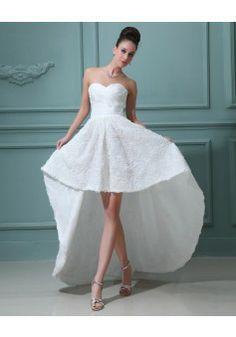 By carolyn carr a line v neck sleeveless asymmetrical organza wedding