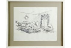 Presentation drawing by Parish-Hadley staff of bedroom and sundial. With gray matte and white frame.