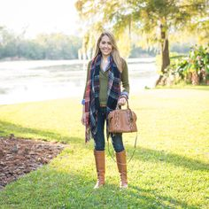 Preppy gingham, olive sweater, plaid scarf