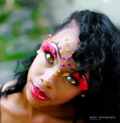 Awesome Carnival style make up 2013, done by The Makeup Girl (Sue Gregg)- Taken by Jamaican photographer Novia Prince via Nickii Photography