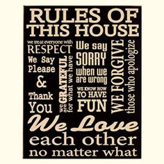 New Rustic RULES OF THIS HOUSE Please Thank You Love Family Wood Plaque Sign #RusticPrimitive