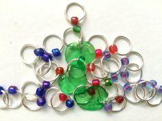 Snag Free ring knitting stitch markers/ringos  Xmas by RosyRetro®