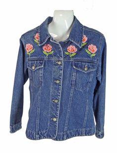 a37005147 Bill Blass Denim Embroidered Roses Jacket PS Flowers Womens Petite Small  #BillBlassPetiteJeans #JeanJacket