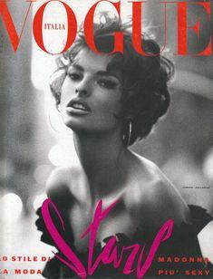 Linda Evangelista by Steven Meisel for Vogue Italy, June 1990.