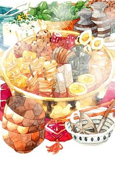 T H U's 🍴Food & Drink images from the web Japon Illustration, Watercolor Illustration, Cake Illustration, Pinterest Instagram, Food Sketch, Art Asiatique, Food Cartoon, Watercolor Food, Food Painting