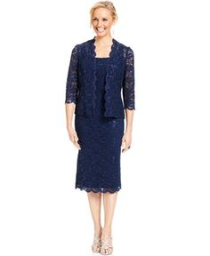 Alex Evenings Petite Sleeveless Sequin Lace Sheath and Jacket - Mother of the Bride - Women - Macy's $179 - navy 8P #1365448