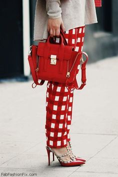 RED: windowpane pants with Phillip Lim bag and Valentino Rockstud Shoes Valentino Rockstud Pumps, Rockstud Shoes, Valentino Garavani, Valentino Heels, Valentino Red, Stilettos, Phillip Lim Bag, Cute Fashion, Womens Fashion
