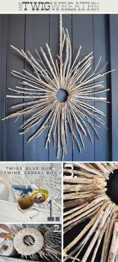 Earthy starburst twig wreath.  Even I can do this!