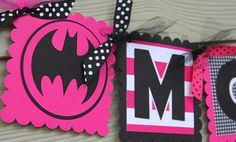 Batman Batgirl Name Banner Hot Pink and Black Superhero: