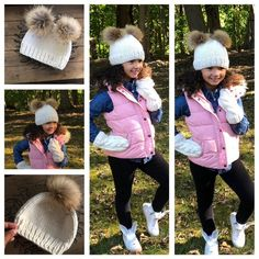 Winter Hat Set, by NellysKnitBoutique on Etsy Knit Or Crochet, Crochet Hats, Girls Winter Hats, Boot Cuffs, Pom Pom Hat, Girl With Hat, Cable Knit, Arm Warmers, Mittens