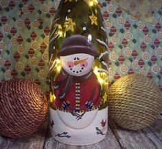 Hand Painted Christmas Winter Lighted Snowman Wine Bottle Lamp...Christmas Decor...Winter Decor...Holiday Decor