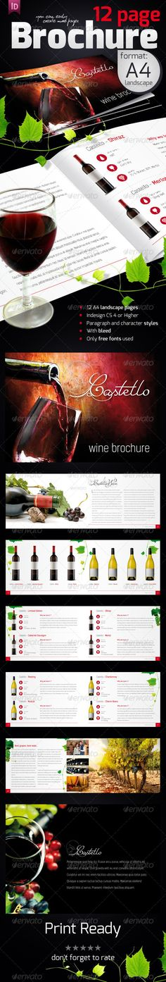 Wine Brochure   #GraphicRiver         Minimalist landscape A4 brochure version. All the photos are used only to visualize the final product are not included in the download. It can be successfully used like a catalog.