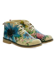 Look what I found on #zulily! Yellow & Blue Floral Boot - Women #zulilyfinds