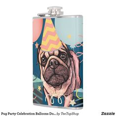 Shop Pug Party Celebration Balloons Dog Photo Confetti Flask created by TeeTopShop. Birthday Pug, Great Gifts For Guys, Confetti Photos, Celebration Balloons, Z Cam, Balloon Dog, Celebrity Dads, Dog Photos, Party Hats