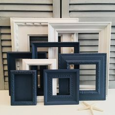 Custom Navy Blue and White Gallery Wall Set Open Frames Set