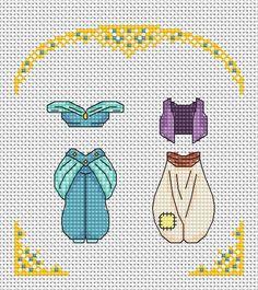 Disney cross stitch pattern Aladdin and Jasmine cross stitch Disney Cross Stitch Patterns, Cross Stitch Designs, Needlepoint Patterns, Knitting Patterns, Sewing Patterns, Cross Stitching, Cross Stitch Embroidery, Snitches Get Stitches, Aladdin And Jasmine