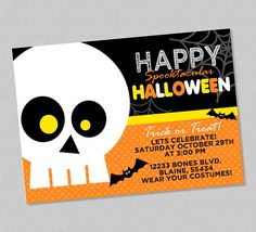 Silly Skeleton Kids Halloween Party Invitation - Orange Black Yellow Bats Costume - Completely Customizable