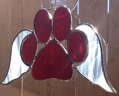 Red Stained Glass Paw Print With Angel Wings by langanfamilyfinds