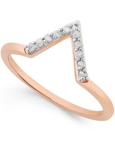Diamond V Ring (1/10 ct. t.w.) in Rose Gold-Plated Sterling Silver