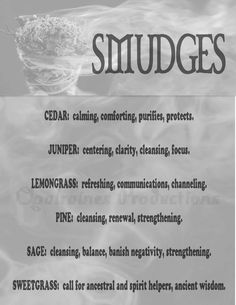 SMUDGES.. MY Opalraines Production. (words from Grimoire of the Green Witch.)