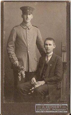 CDV photo Soldat mit feinem Jungen - Stassfurt um 1910