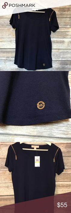 True Navy Michael Kors blouse with gold zippers Navy is a perfect fall color! Pair with some jean skinnies and some beige booties to complete the look! MICHAEL Michael Kors Tops Blouses