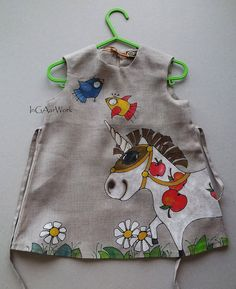 "Unicorn - painted dress - children's fashion - Hand painted - size by height 29""/74 cm  - children"