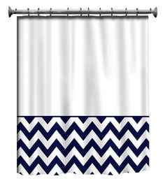 Custom Shower Curtain Navy and White Chevron by redbeauty on Etsy, $78.00