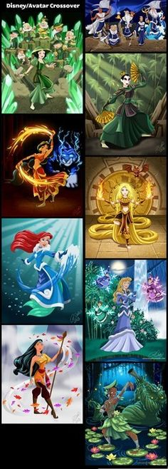 Any of you ever see the Last Airbender? Disney princesses turned into Benders.