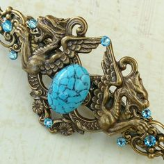 New in my Etsy shop: Large dragon hair clip with turquoise gemstone