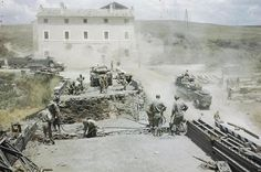 US Army Engineers repairing a bridge blown up by the Germans during their retreat from Rome/18 June 1944