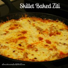 Make dinner nice and easy with this Skillet Baked Ziti! Break out your trusty cast iron and you have everything you need for a delicious meal!