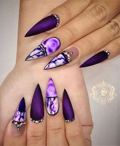 Stunning Nail Art Trend Ideas for Trend Stiletto Nails in Stiletto Coffin Nails; Nails Acrylic; Stiletto Nails in Stiletto Coffin Nails; Nail Art Designs, Purple Nail Designs, Acrylic Nail Designs, Crazy Nail Designs, Stiletto Nail Art, Cute Acrylic Nails, Coffin Nails, Matte Nails, Purple Stiletto Nails