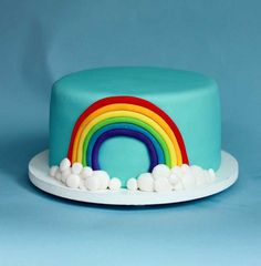Super simple rainbow cake with clouds, if I'm short on time. Joanna approves. But she wants her name on the cake, the #7, and a Rainbow Dash.