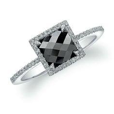 White Gold Contemporary Designer Black Diamond Ring by Coby Madison Black Diamond Wedding Rings, Square Diamond Rings, Black Diamond Jewelry, Black Diamond Engagement, Gold Wedding, Silver Jewelry, Black Jewelry, Trendy Wedding, Wedding Bands