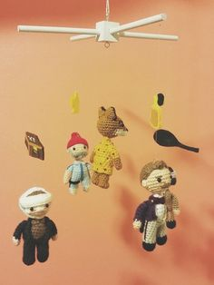 At the request of an ingenious customer, Aimee Tsuchikawa of SmileFelt created a marvelous amigurumi baby mobile featuring characters from Wes Anderson films.