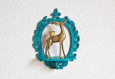 Upcycled Peacock Blue Shelf with Brass Deer Candle by TheWildWorld