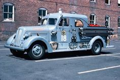 1946 Seagraves covered pumper. Roanoke, VA Fire Department. Navy gray color. This was done by many FD's during WWII...