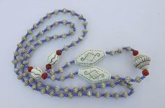 ART DECO MAX NEIGER EGYPTIAN REVIVAL Necklace Czech Glass BEADS BLUE RED CREAM