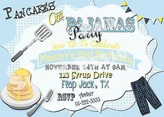 """Pancakes and Pajamas Invitation"" ""Pajama Party Invitation"" ""Sleepover Invite"" 