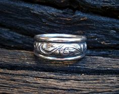 Medieval style engraved silver wedding band  by FiaFourieJewellery