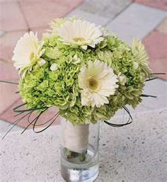 Green hydrangea, but with yellow gerber daisy and baby's breath