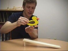 http://video_demos.colostate.edu/     Dr. Dave and Dr. Tom explain the physics of a wooden waddling duck toy involving friction, impact, energy transfer, and dynamics.    This toy was purchased at: http://www.eurotoyshop.com/Toys/DE-DH0302C/Detoa/Yellow-duck-walker.html    A technical analysis can be found here:  http://www.zfm.ethz.ch/~leine/po...