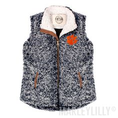 Clemson Kids Heathered Sherpa Vest