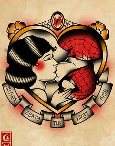 """Illusion: Illustrator Derick James has designed a fun collection of tattoo flashes with comic book and movie characters from Spider-Man,Star Wars, and The Dark Knight. See also: """"The Making of a Tattoo Flash.""""     (Image © Derick James)    http://illusion.scene360.com/art/32472/tattoo-designs-the-romance-and-battle-of-superheroes/"""