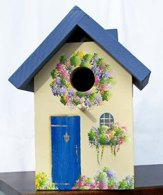 "Blue & Cream, Outdoor Birdhouse by Cathie at ""The Sparrow Inn"" Etsy shop ~ bird house cottage shabby chic hand-painted Bird Houses Painted, Painted Birdhouses, Blue Roof, Bird Boxes, Tole Painting, Fairy Houses, Bird Feeders, Kitsch, Decoupage"