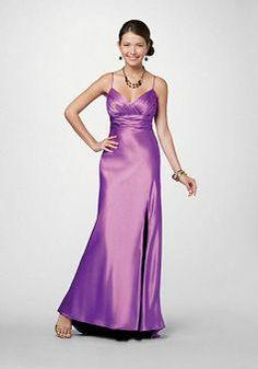 A line Spaghetti Straps Elastic Silk Like Satin Sleeveless Floor Length Empire Prom Gowns - Angeldress.co.uk