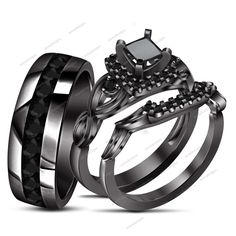 10K Black Gold Finish 1.20 CT(Tdw) Round Diamond in Bridal Ring Band Set #aonedesigns