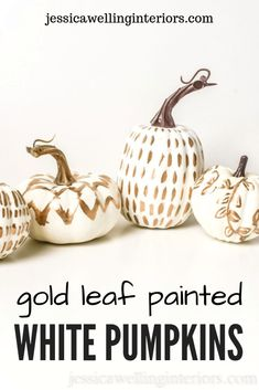 DIY Home Decor: These DIY white pumpkin decor ideas for Fall are perfect for table settings and centerpieces, fireplace mantels, weddings, Thanksgiving, and more! Paint white pumpkins with gold leaf. White Pumpkin Centerpieces, White Pumpkin Decor, Diy Pumpkin, Pumpkin Crafts, Faux Pumpkins, White Pumpkins, Painted Pumpkins, Fall Home Decor, Autumn Home